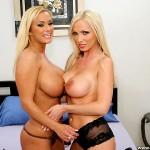Hot Blonde Pornstars Shyla Stylez & Nikki Benz Share a Cock 03