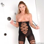 Horny Slut Aurora Snow Fucks Gloryhole Cocks in the Shower 01