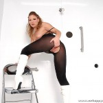Horny Slut Aurora Snow Fucks Gloryhole Cocks in the Shower 04